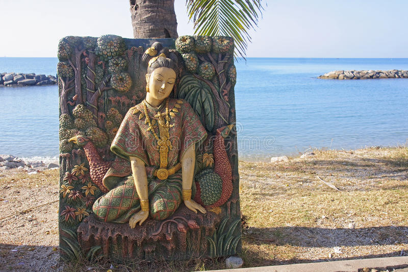 Bas-relief at the beach temple in Rayong royalty free stock images