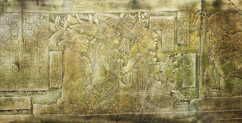 Bas-relief carving with of a Mayan kings in ancient city, Palenque, Chiapas, Mexico. Bas-relief carving with of a Mayan kings, pre-Columbian Maya civilization royalty free stock images