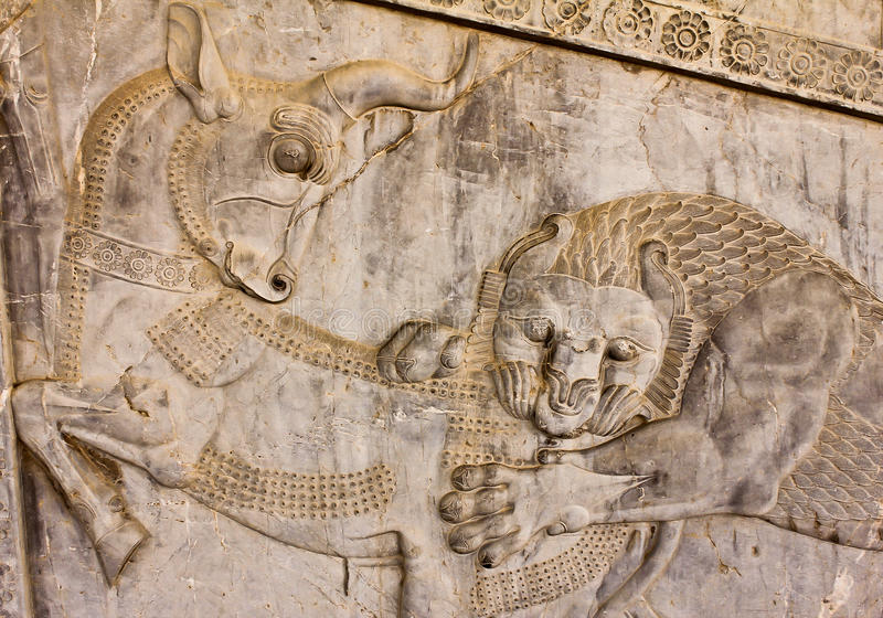 Bas-relief dans Persepolis - un symbole de Zoroastrian images stock
