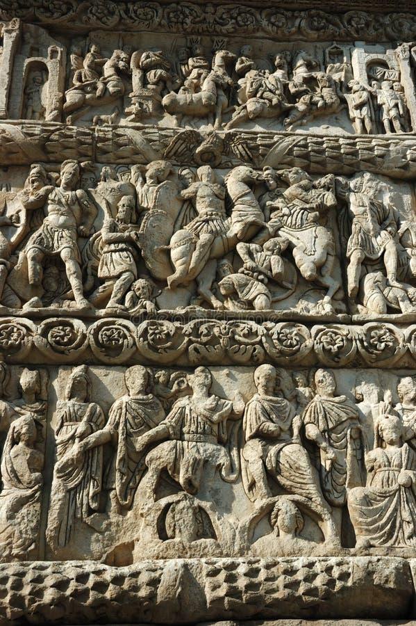 Bas-relief de voûte de Galerius, Salonique, Grèce photo stock