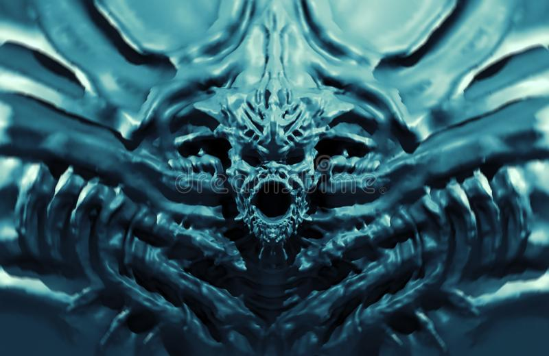 Bas-relief demon with horns. 3d illustration. In genre of fantasy. Blue background color stock illustration