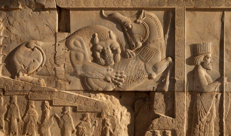 Bas Relief di combattimento di toro e del leone accanto ad un soldato dell'achemenide in Persepolis fotografia stock