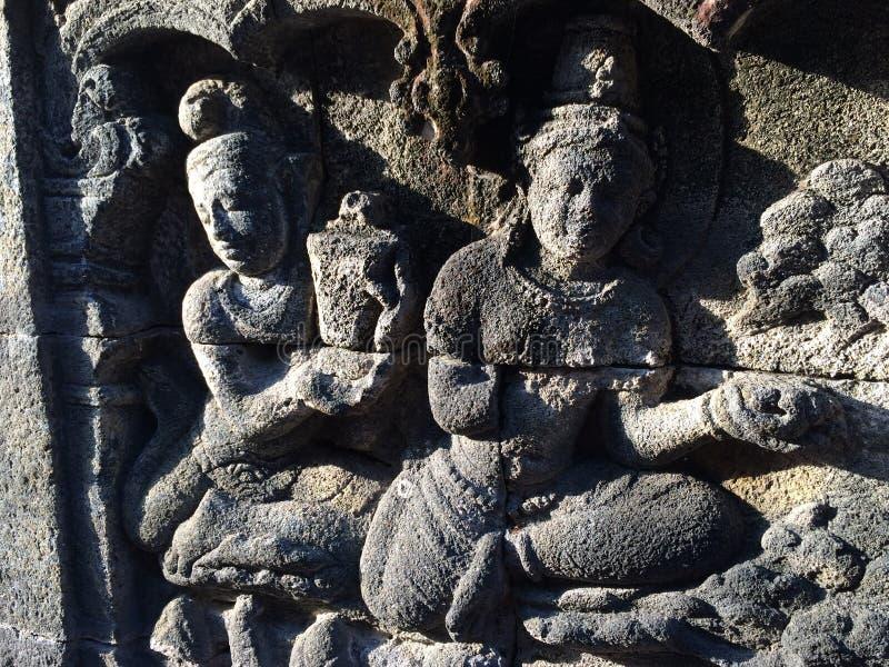 Bas Relief die het verschillende stadium van het leven van Lord Buddha naar Nirvana tonen, Borobudur-Tempel, Centraal Java, Indon stock foto's