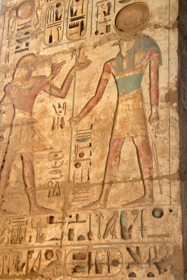 Bas-relief egipcio antiguo foto de archivo