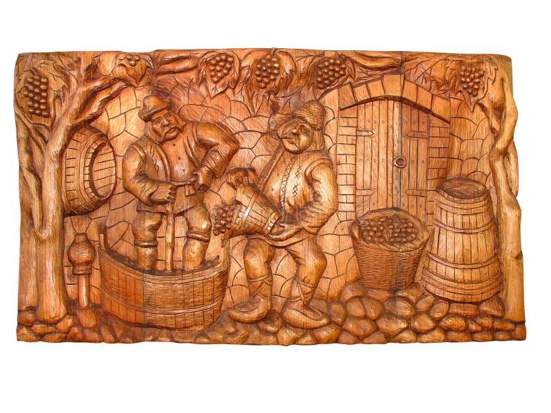 Bas-relief en bois de cru antique image stock