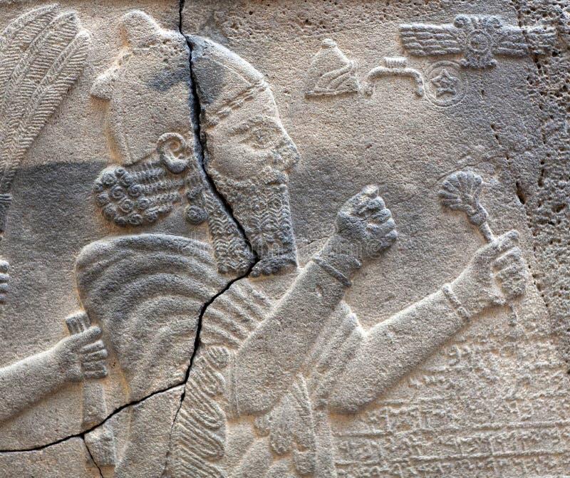 Bas-relief en pierre antique de la période hittite en retard photo stock