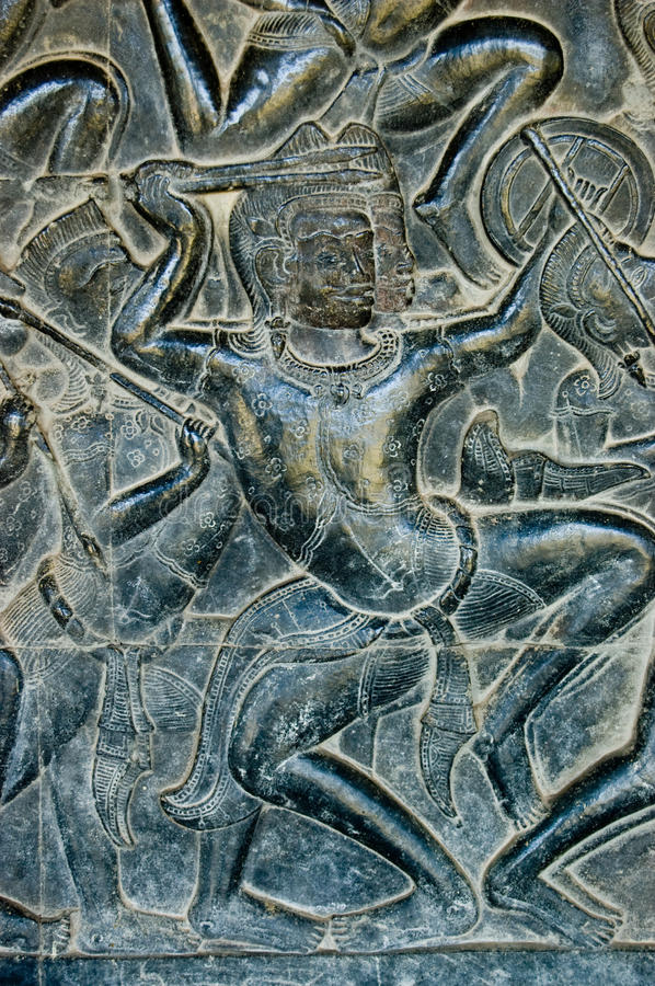 Bas Relief Kaurava Fighter, Angkor Wat Stock Image