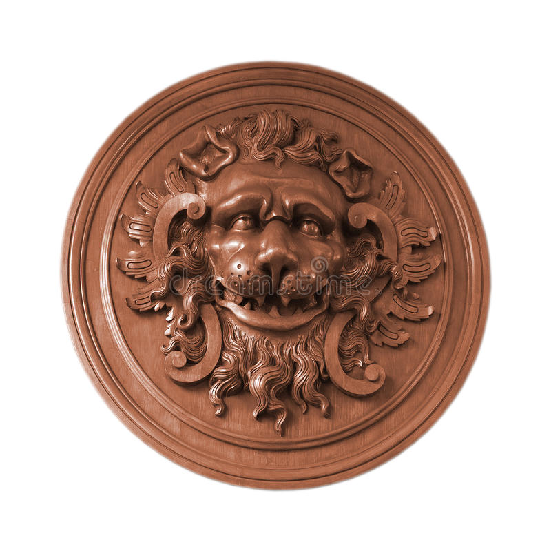 Bas Relief Lion Isolated White Royalty Free Stock Photos