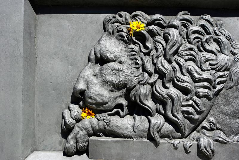 Bas-relief of a lion. lion in architecture.Element of the monument design in Poltava, Ukraine royalty free stock photo