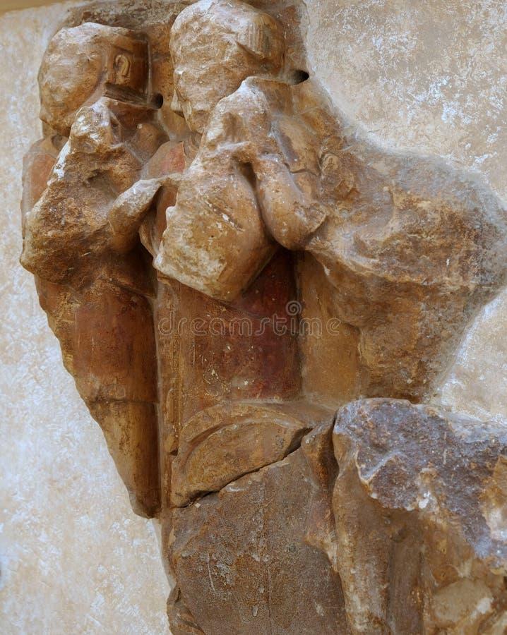 Bas Relief Marble Sculpture Delphi Archaeological Museum, Grekland royaltyfria bilder