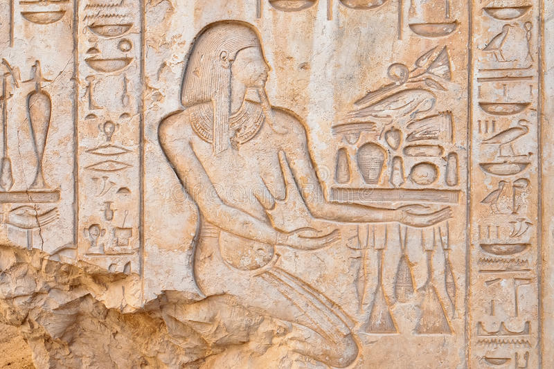 Bas relief in Medinet Habu temple, Luxor, Egypt. Bas relief details in Medinet Habu temple, Luxor, Egypt royalty free stock photo