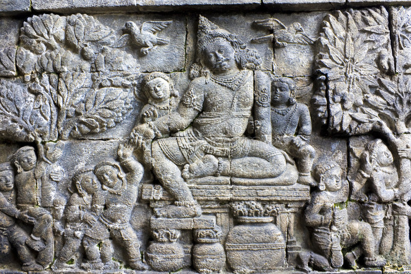 Bas-Relief at Mendut Temple, Indonesia stock photo