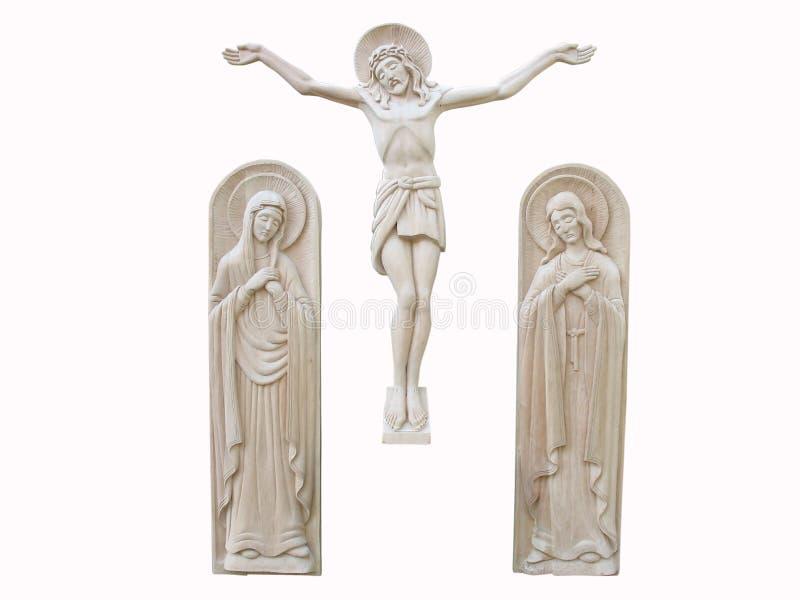 Bas-relief ortodoxo de madera de la religión aislado fotografía de archivo