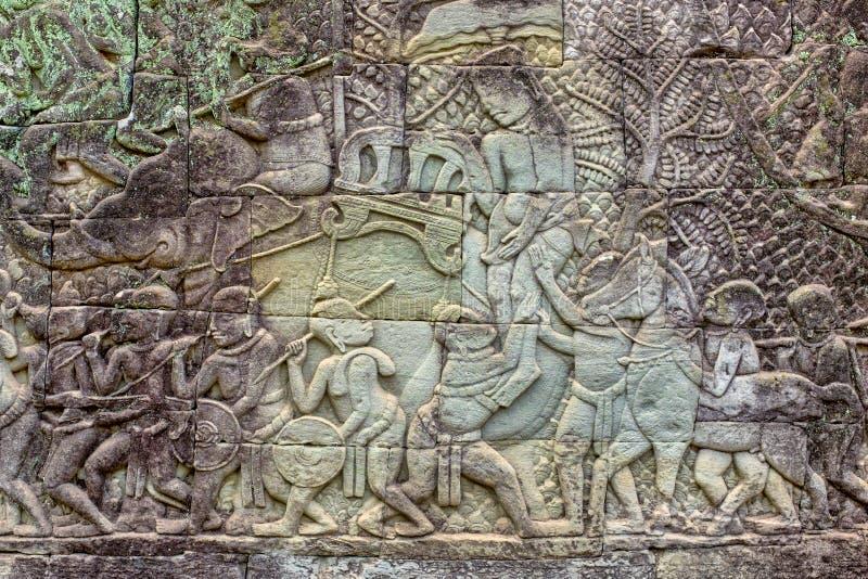 Bas-Relief a Prasat Bayon immagine stock libera da diritti