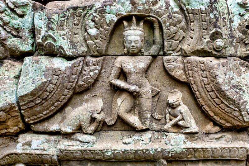 Bas-Relief a Prasat Bayon fotografia stock libera da diritti