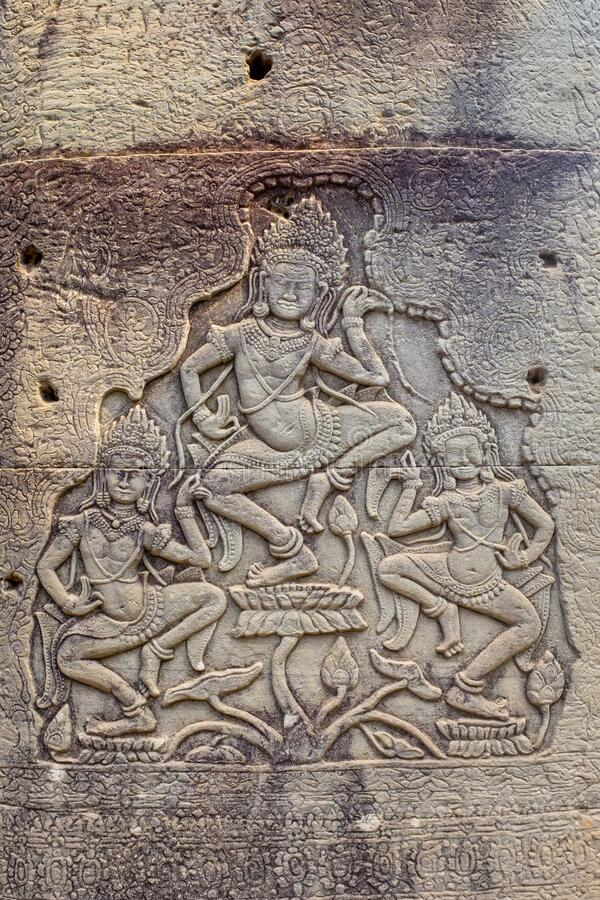 Bas-Relief a Prasat Bayon fotografie stock
