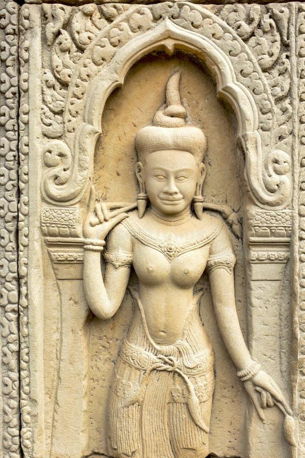 Bas-Relief a Prasat Bayon fotografie stock libere da diritti