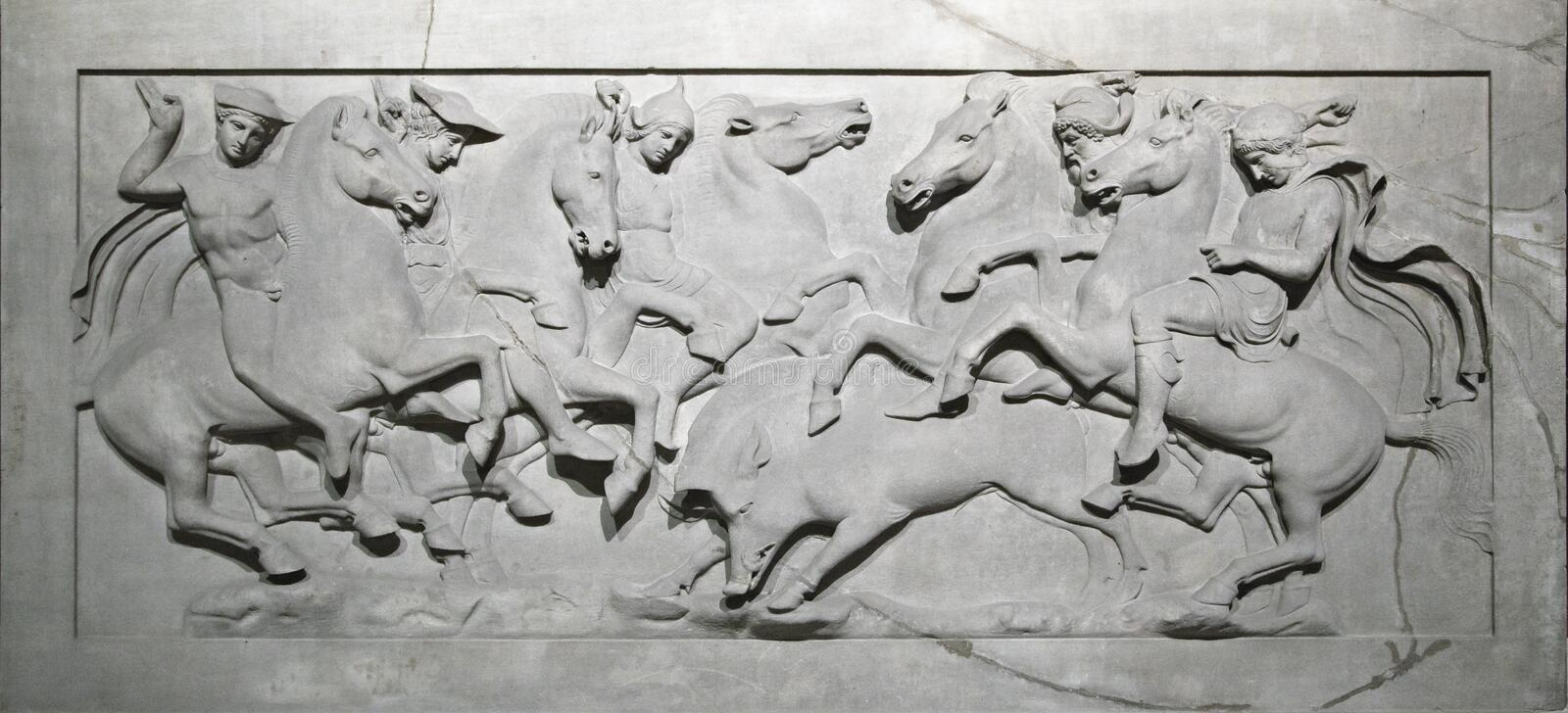 Bas-relief on a sarcophagus. Of Alexander the Great in Istanbul museum stock images