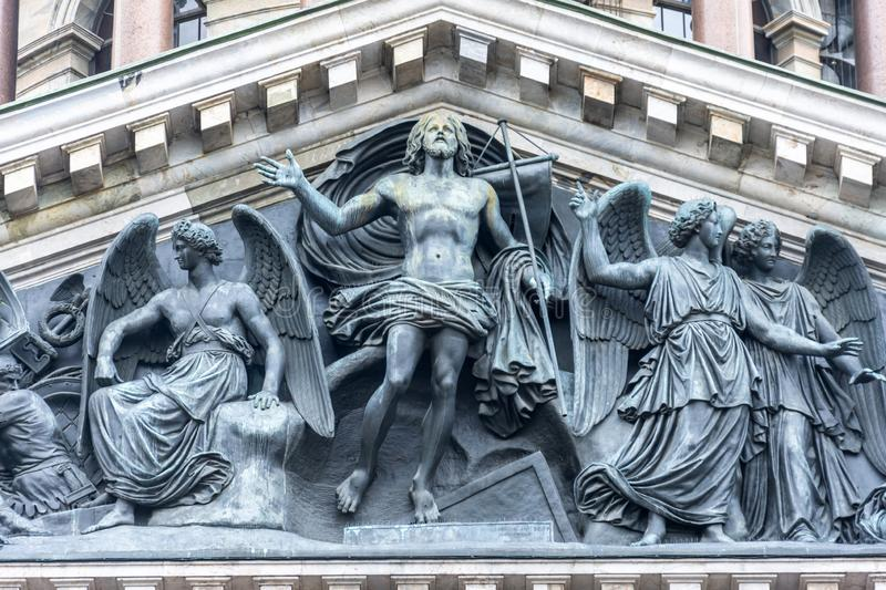 Bas-relief sculpture The Resurrection of Christ in the Orthodox Church at St. Isaac`s Cathedral in St. Petersburg royalty free stock image
