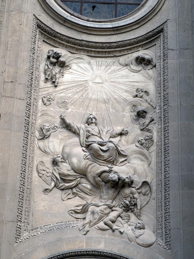 Detail over side entrance to the Cathedral of Granada, Andalusia, Spain, Espana royalty free stock image