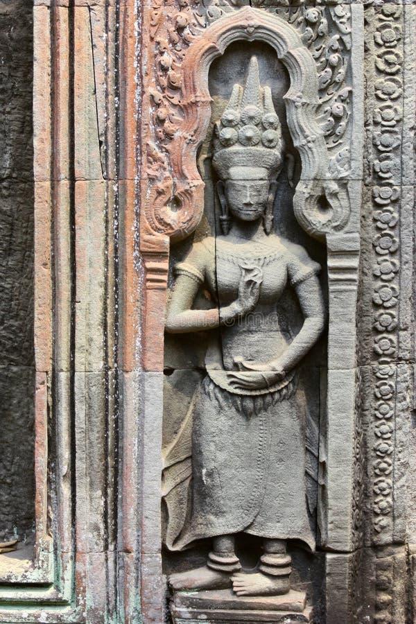 Bas Relief van Apsara in Cambodjaanse Hindoese Tempel royalty-vrije stock afbeelding