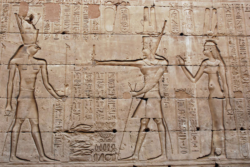 Bas-Relief on the wall - Temple of Edfu - Egypt. Bas-relief on the wall, Edfu Temple of Horus an ancient Egyptian temple dedicated to the falcon god Horus stock photos