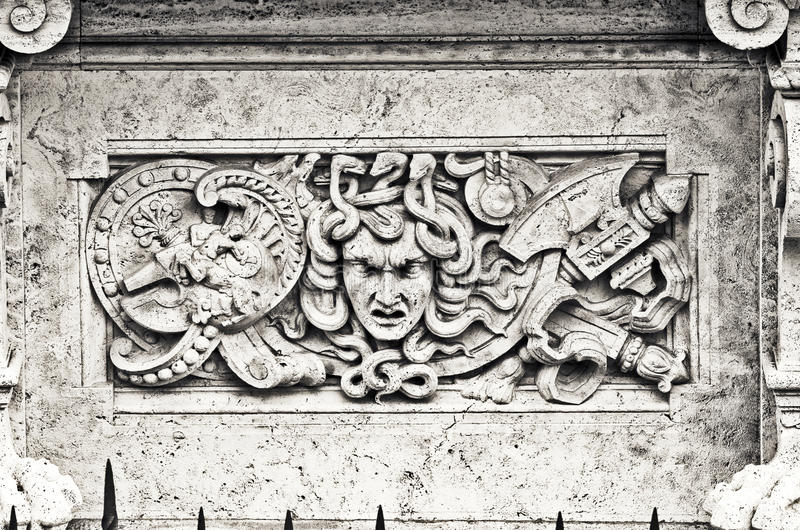 Bas-relief In White Marble On A Building Facade Stock Photo - Image ...