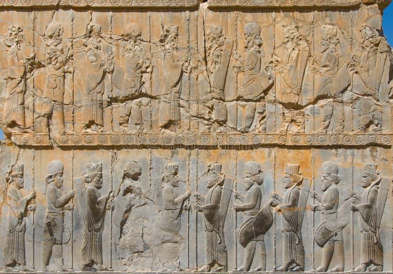 Bas-reliefs antiguos de Persepolis imagen de archivo libre de regalías