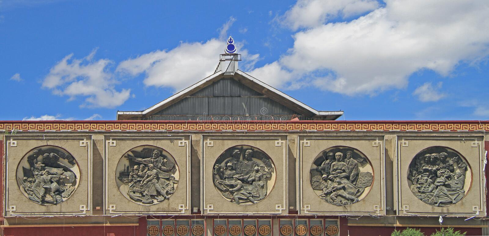 Bas-reliefs on the building of former lenin museum stock photos