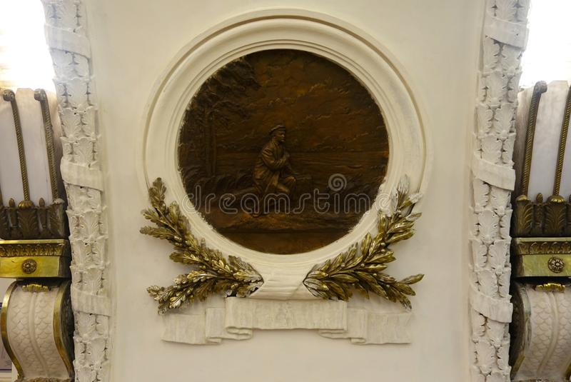 The bas-reliefs of the metro station. Ploshchad Vosstaniya stock images
