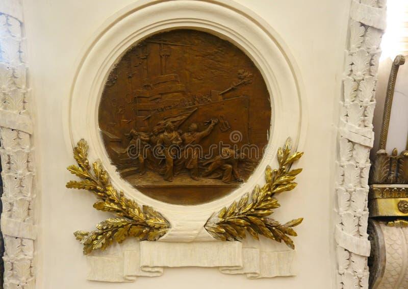 The bas-reliefs of the metro station. Ploshchad Vosstaniya stock photography