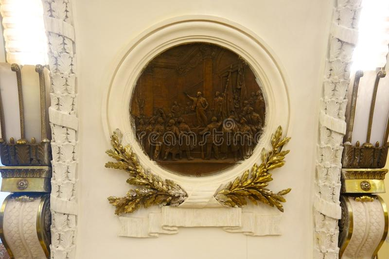 The bas-reliefs of the metro station. Ploshchad Vosstaniya royalty free stock images
