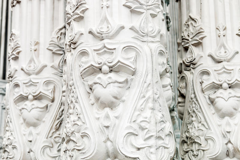 Bas-reliefs and sculptural details in the design of stone art. In the pavilions of the exhibition VDNH in Moscow royalty free stock image