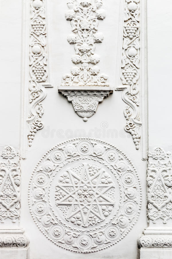 Bas-reliefs and sculptural details in the design of stone art. In the pavilions of the exhibition VDNH in Moscow stock photos