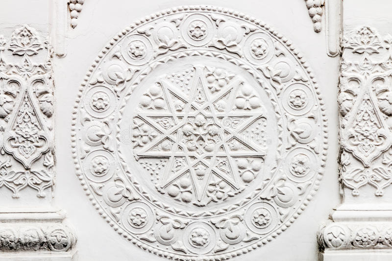 Bas-reliefs and sculptural details in the design of stone art. In the pavilions of the exhibition VDNH in Moscow royalty free stock photos