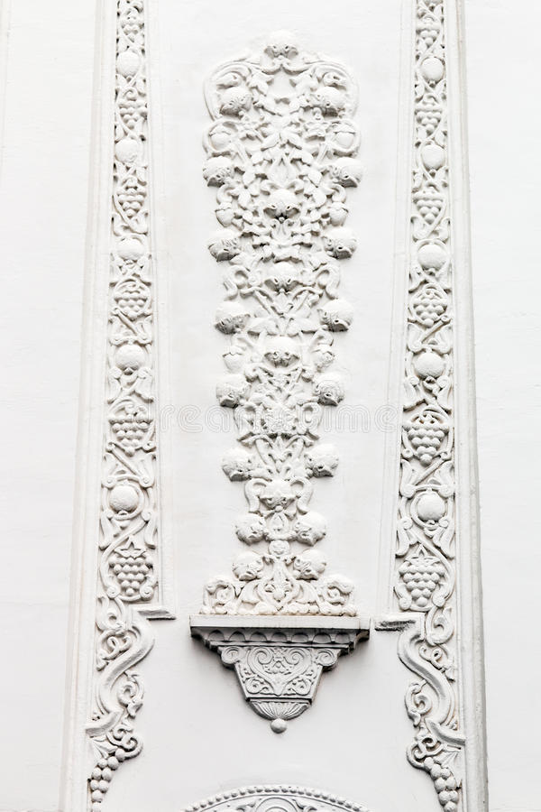 Bas-reliefs and sculptural details. In the design of stone art in the pavilions of the exhibition VDNH in Moscow stock image