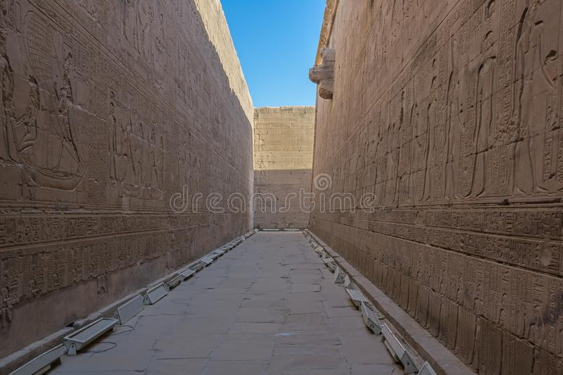 Bas reliefs in the Temple of Horus stock photo
