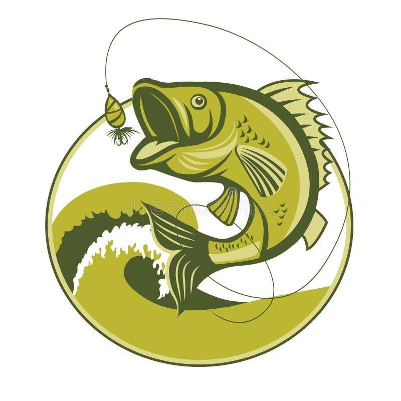 Bas ryba Basowy połów Wabije Basowego połowu sprzęt Basowego połowu haczyk ilustracja wektor