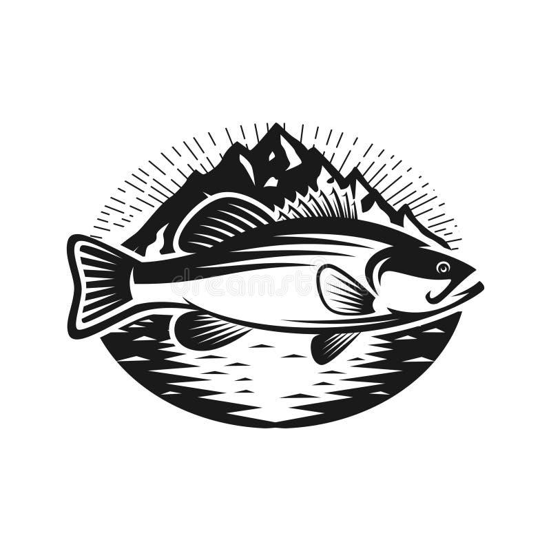 Bas ryba z halnym loga szablonem ilustracji