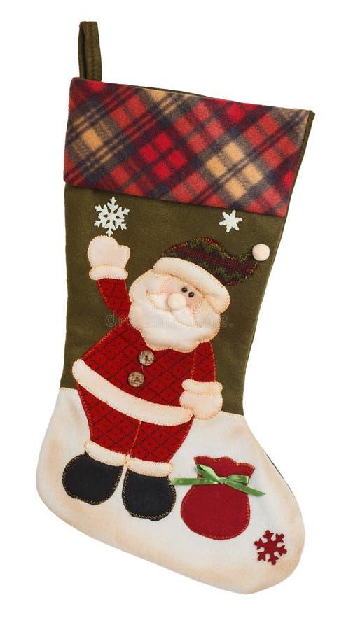 Bas vide vert et blanc avec Santa Claus photo libre de droits