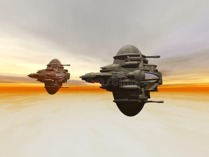 Bas vol d'intercepteur d'orbite sur la formation sur le coucher du soleil image libre de droits