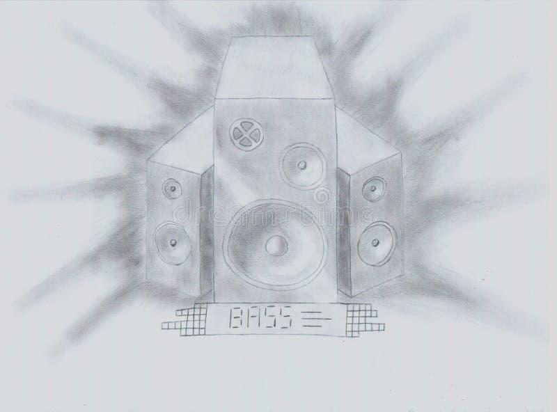 Bas zwart-wit speakerphones stock afbeelding