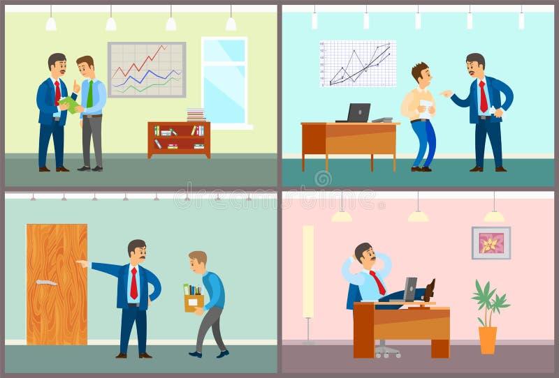 Basa Talking till personalpersonalen, avfyrad arbetare royaltyfri illustrationer