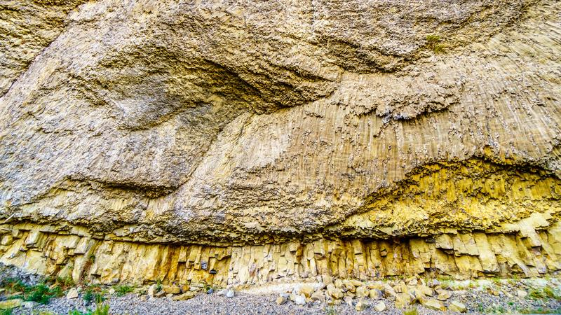 Basalt cliffs near Tower Junction along the Grand Loop Road in Yellowstone National Park stock images