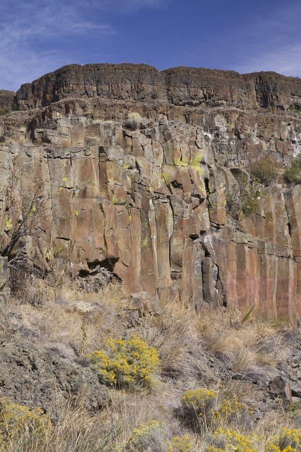 Basalt cliffs, Sun Lakes Dry Falls State Park, Washington State. USA royalty free stock images