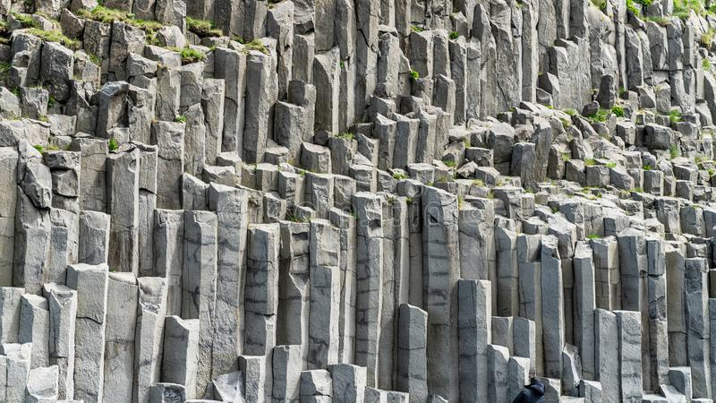 Basalt columns geological formation at Reynisfjara beach, Iceland. Basalt columns geological formation at Reynisfjara beach, southern coast of Iceland royalty free stock images