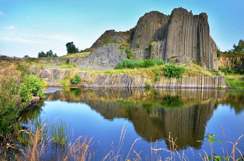 Basalt rocks named organ, Czech republic. A nature pecularity Panska skala named organs, basalt rocks near the village Kamenicky Senov, Czech republic royalty free stock photos