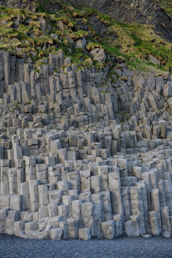 Basalt Rocks on Reynisdrangar Beach stock photo