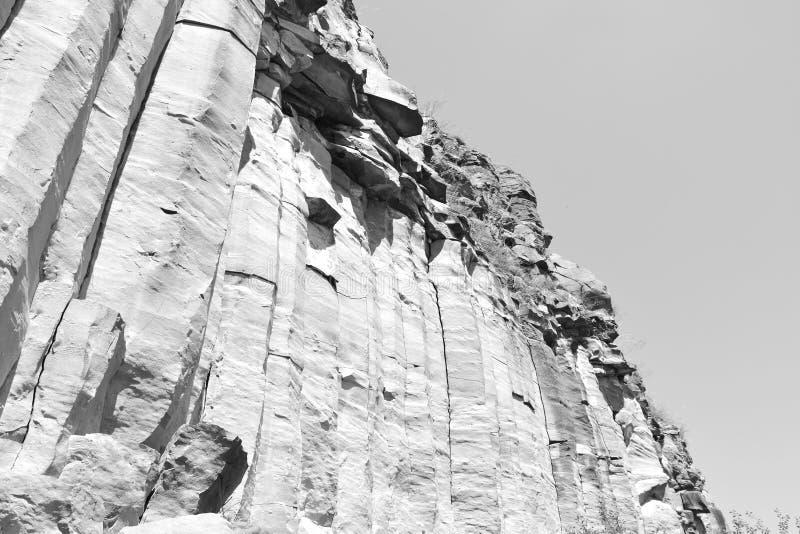 Basaltet vaggar kolonnen är vulkanisk vaggar utlöpare i form av den columnar basaltet som lokaliseras i Racos, Rumänien royaltyfri foto