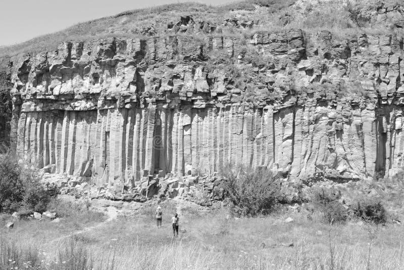 Basaltet vaggar kolonnen är vulkanisk vaggar utlöpare i form av den columnar basaltet som lokaliseras i Racos, Rumänien royaltyfria foton